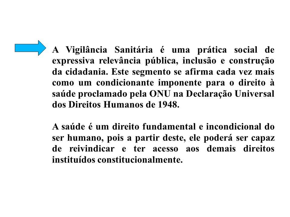A Vigilância Sanitária é uma prática social de expressiva relevância pública, inclusão e construção da cidadania. Este segmento se afirma cada vez mais como um condicionante imponente para o direito à saúde proclamado pela ONU na Declaração Universal dos Direitos Humanos de 1948.