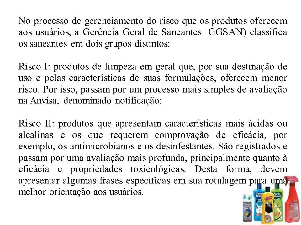 No processo de gerenciamento do risco que os produtos oferecem aos usuários, a Gerência Geral de Saneantes (GGSAN) classifica os saneantes em dois grupos distintos: