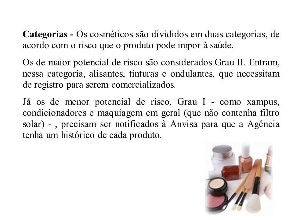 Categorias - Os cosméticos são divididos em duas categorias, de acordo com o risco que o produto pode impor à saúde.