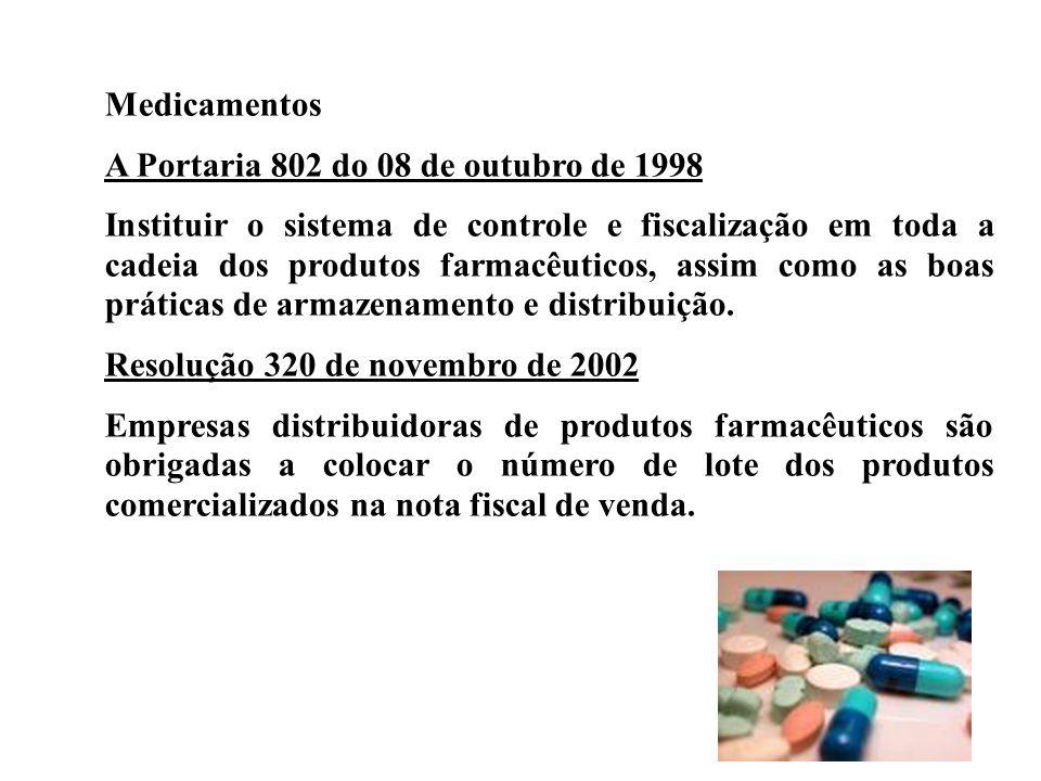 Medicamentos A Portaria 802 do 08 de outubro de 1998.