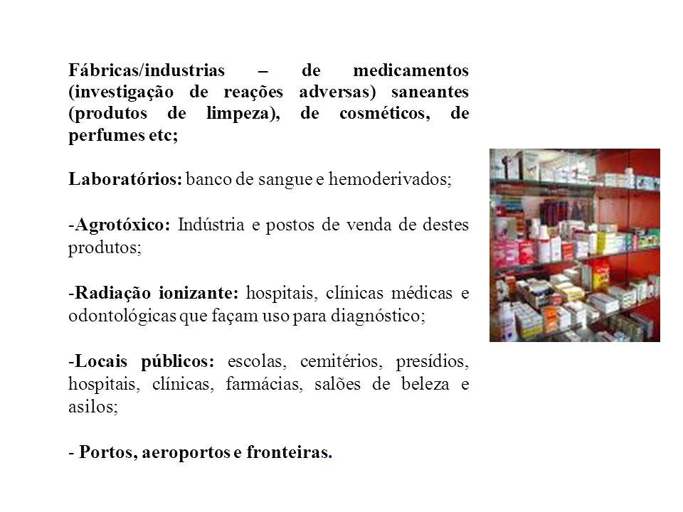 Laboratórios: banco de sangue e hemoderivados;