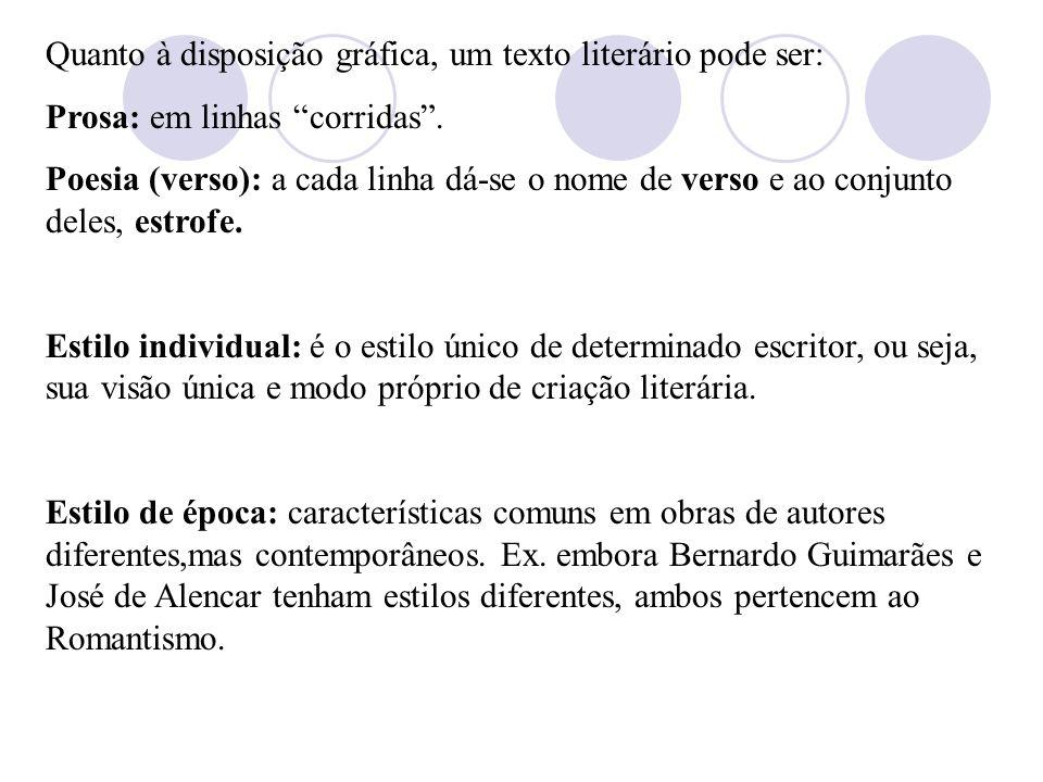 Quanto à disposição gráfica, um texto literário pode ser: