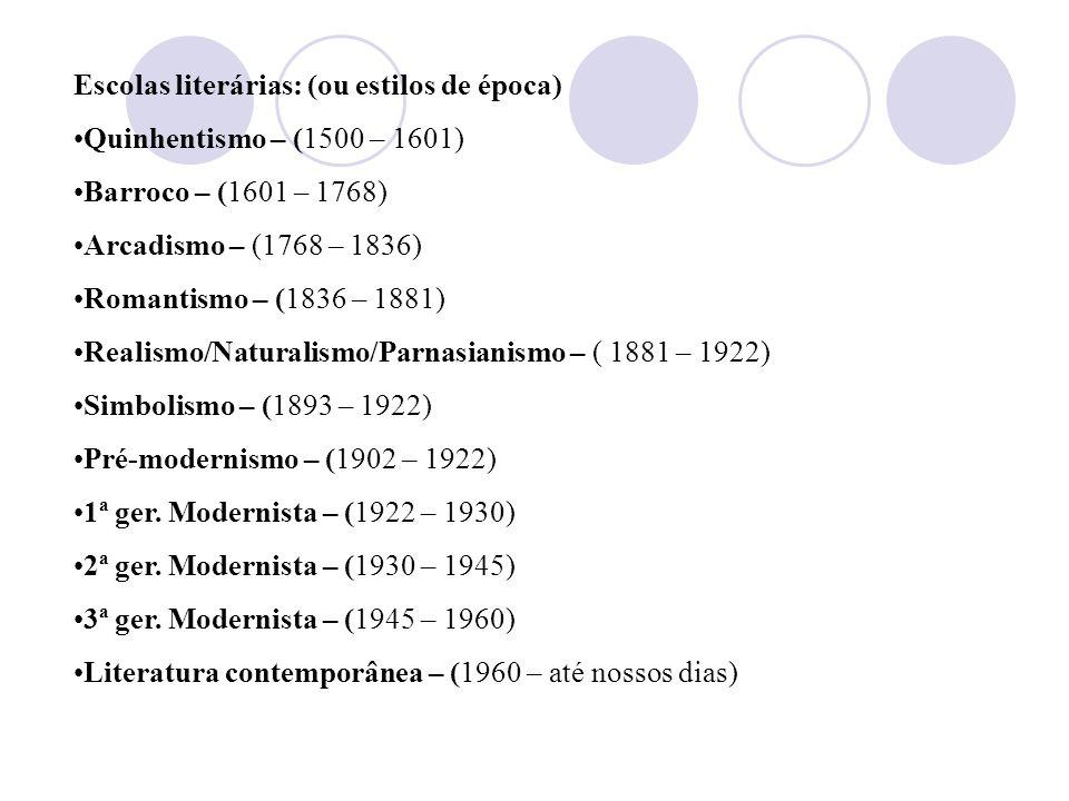 Escolas literárias: (ou estilos de época)