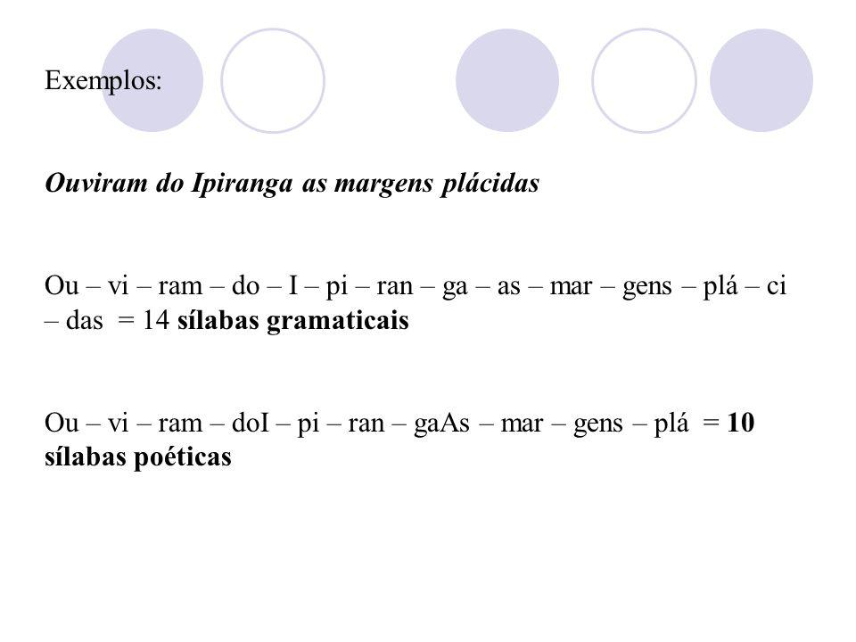 Exemplos: Ouviram do Ipiranga as margens plácidas.