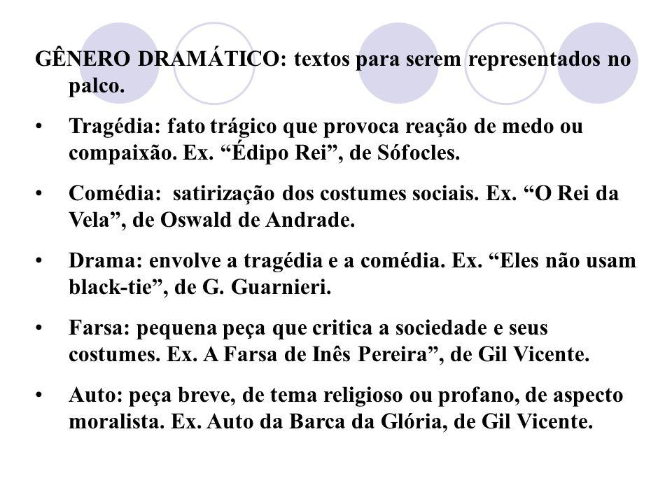 GÊNERO DRAMÁTICO: textos para serem representados no palco.