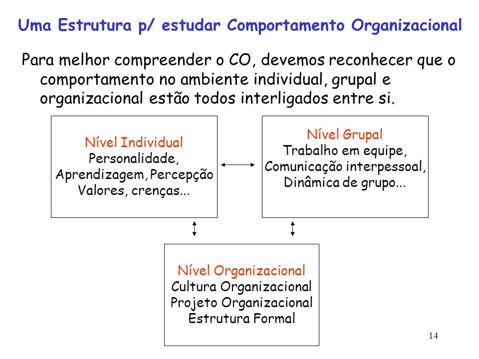 Uma Estrutura p/ estudar Comportamento Organizacional