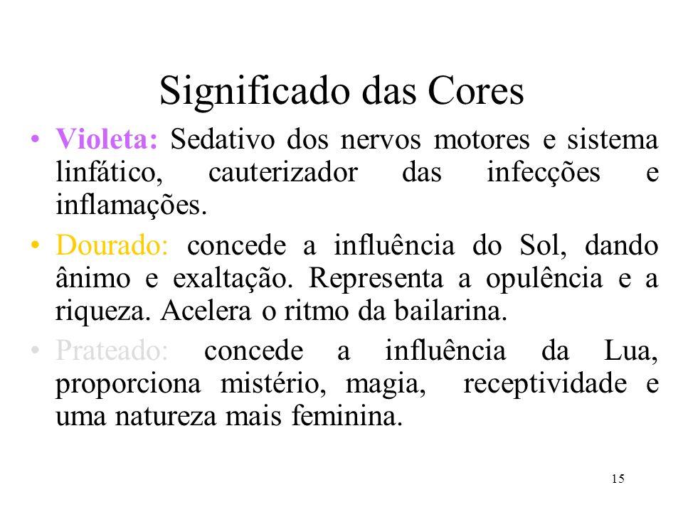 Significado das Cores Violeta: Sedativo dos nervos motores e sistema linfático, cauterizador das infecções e inflamações.