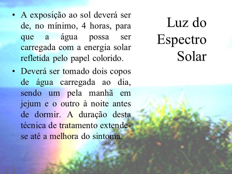 A exposição ao sol deverá ser de, no mínimo, 4 horas, para que a água possa ser carregada com a energia solar refletida pelo papel colorido.