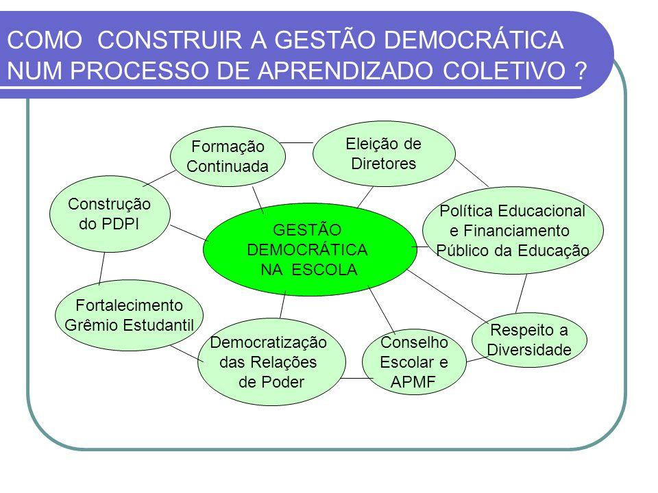 COMO CONSTRUIR A GESTÃO DEMOCRÁTICA NUM PROCESSO DE APRENDIZADO COLETIVO
