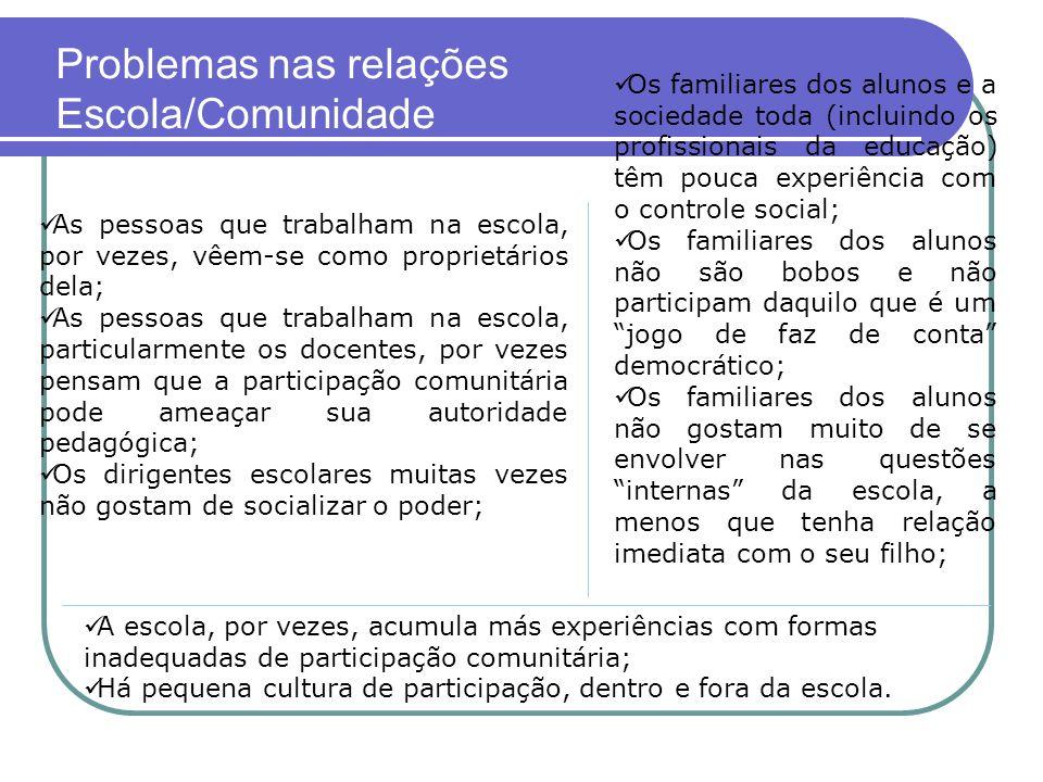 Problemas nas relações Escola/Comunidade
