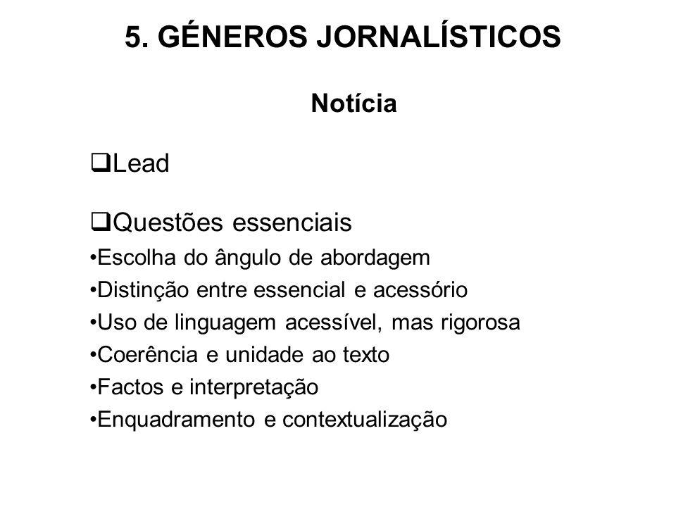 5. GÉNEROS JORNALÍSTICOS