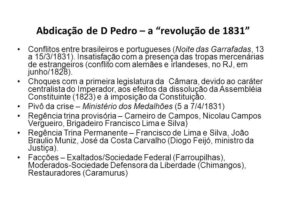 Abdicação de D Pedro – a revolução de 1831