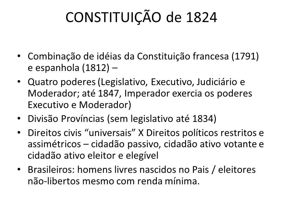 CONSTITUIÇÃO de 1824 Combinação de idéias da Constituição francesa (1791) e espanhola (1812) –