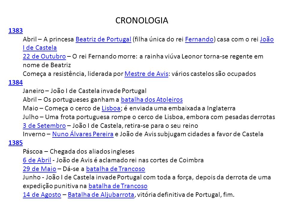 CRONOLOGIA1383. Abril – A princesa Beatriz de Portugal (filha única do rei Fernando) casa com o rei João I de Castela.