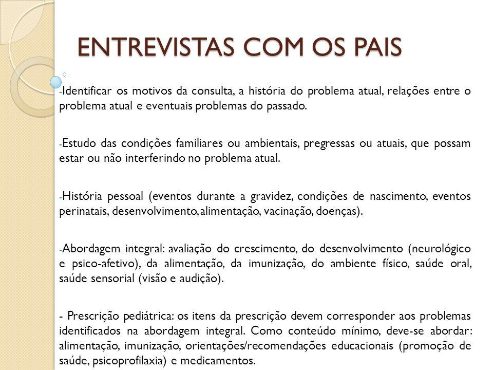 ENTREVISTAS COM OS PAIS