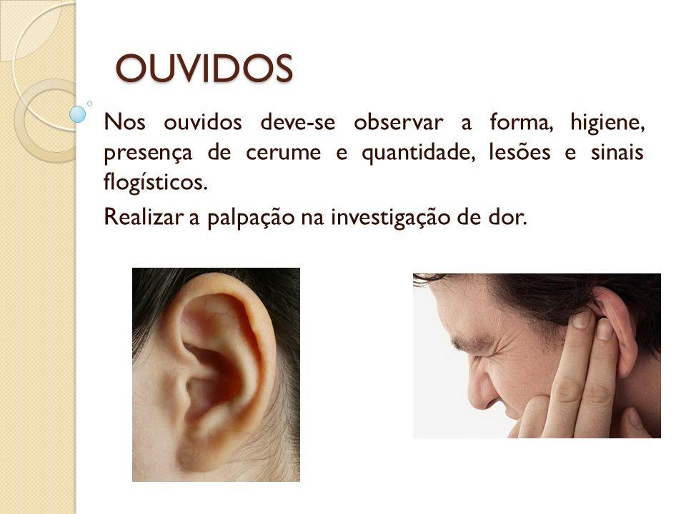 OUVIDOS Nos ouvidos deve-se observar a forma, higiene, presença de cerume e quantidade, lesões e sinais flogísticos.