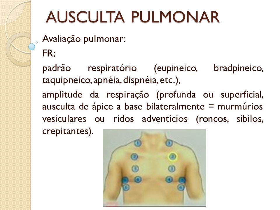 AUSCULTA PULMONAR Avaliação pulmonar: FR;