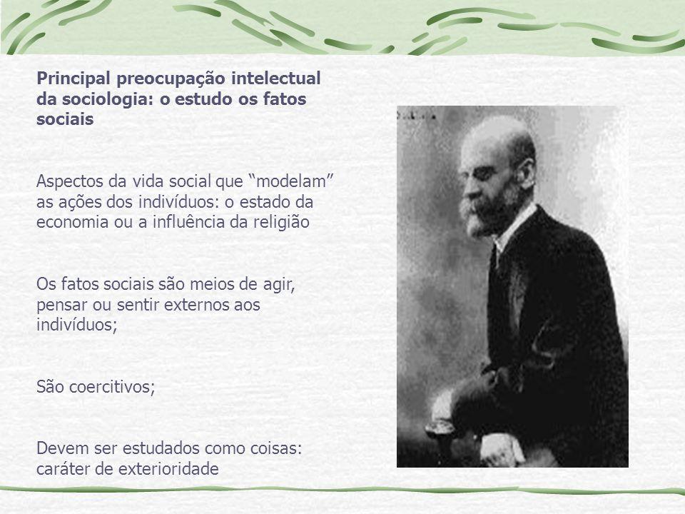 Principal preocupação intelectual da sociologia: o estudo os fatos sociais