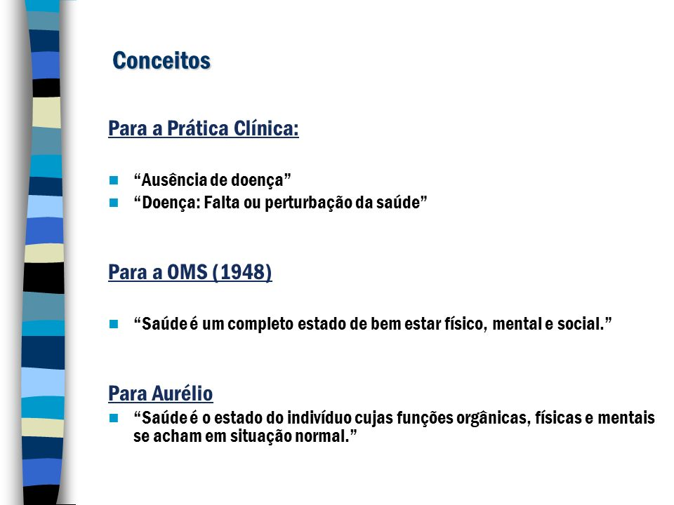 Conceitos Para a Prática Clínica: Para a OMS (1948) Para Aurélio