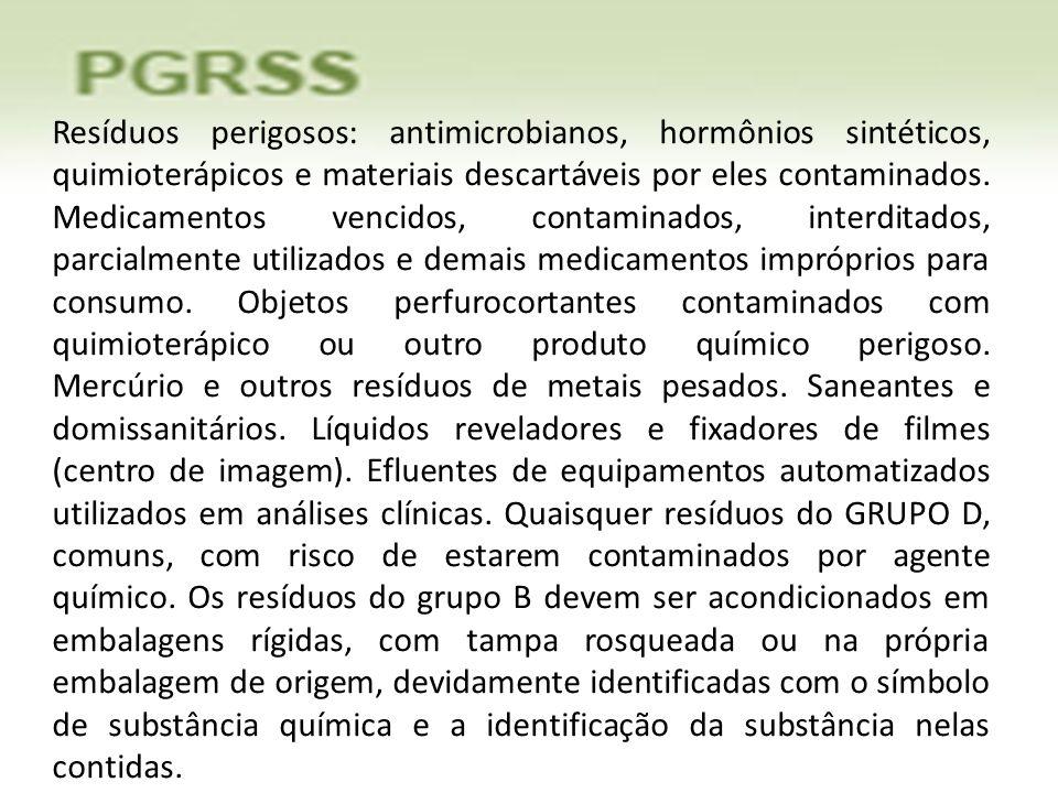 Resíduos perigosos: antimicrobianos, hormônios sintéticos, quimioterápicos e materiais descartáveis por eles contaminados.