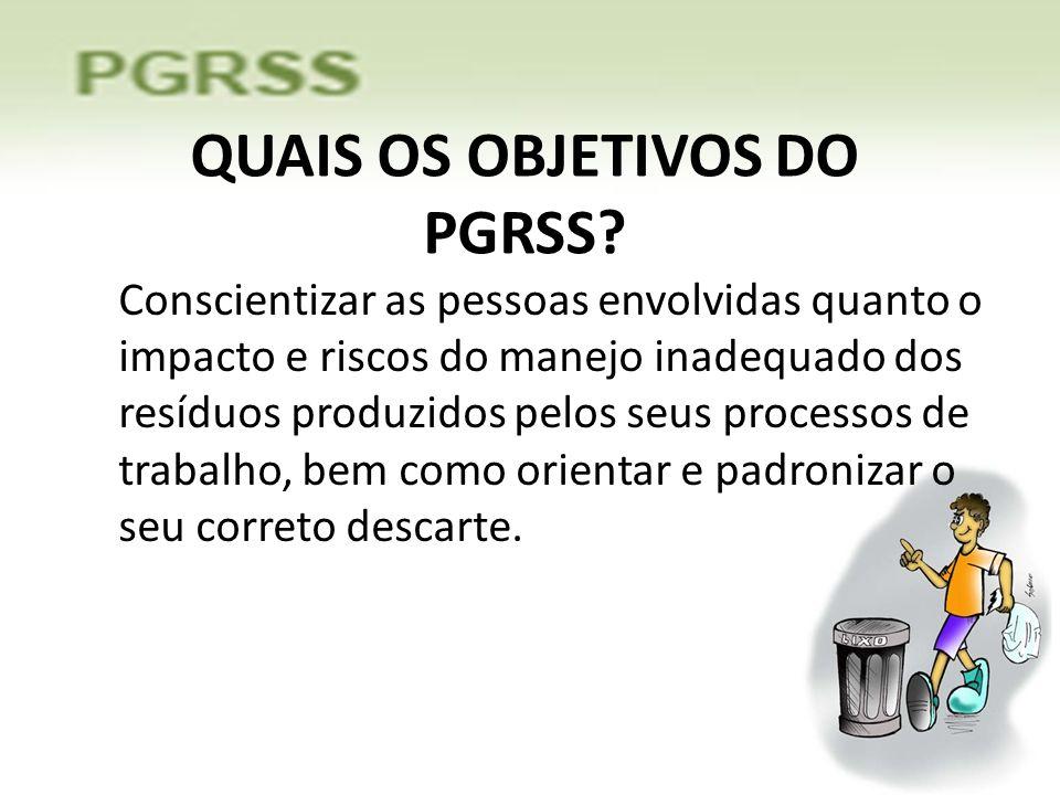 QUAIS OS OBJETIVOS DO PGRSS
