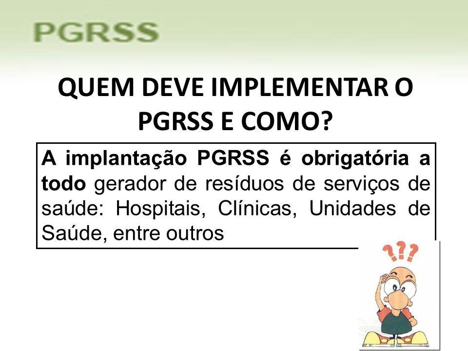QUEM DEVE IMPLEMENTAR O PGRSS E COMO