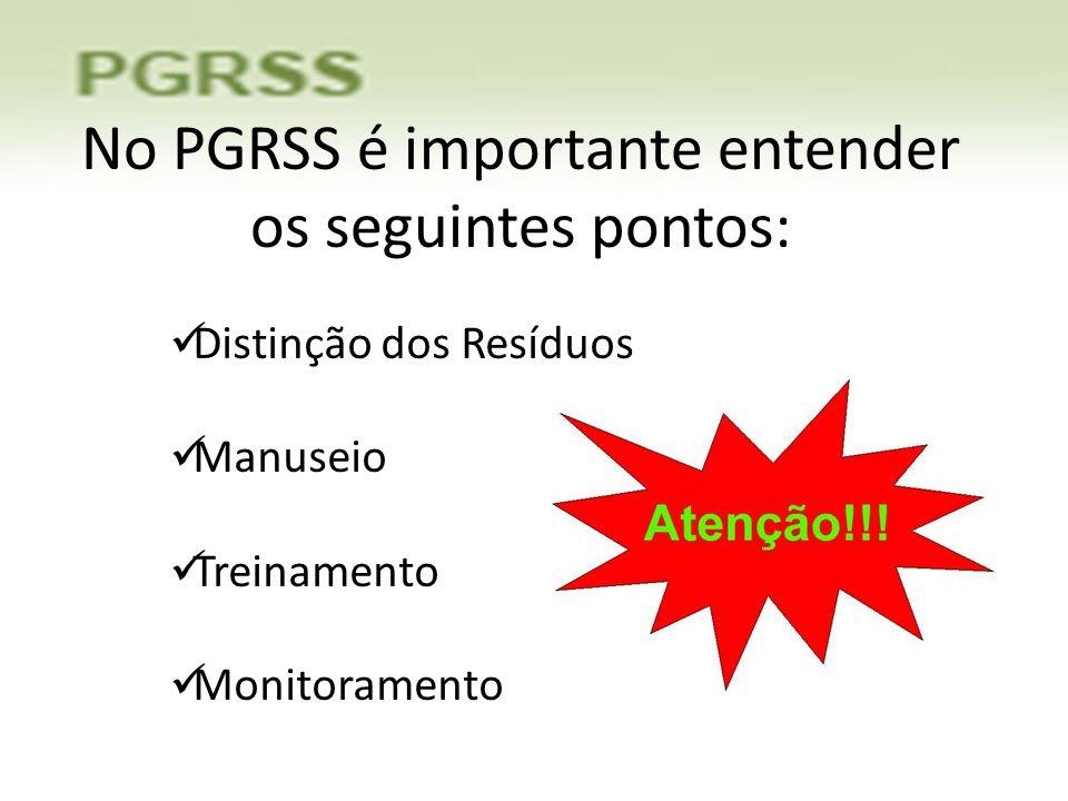 No PGRSS é importante entender os seguintes pontos: