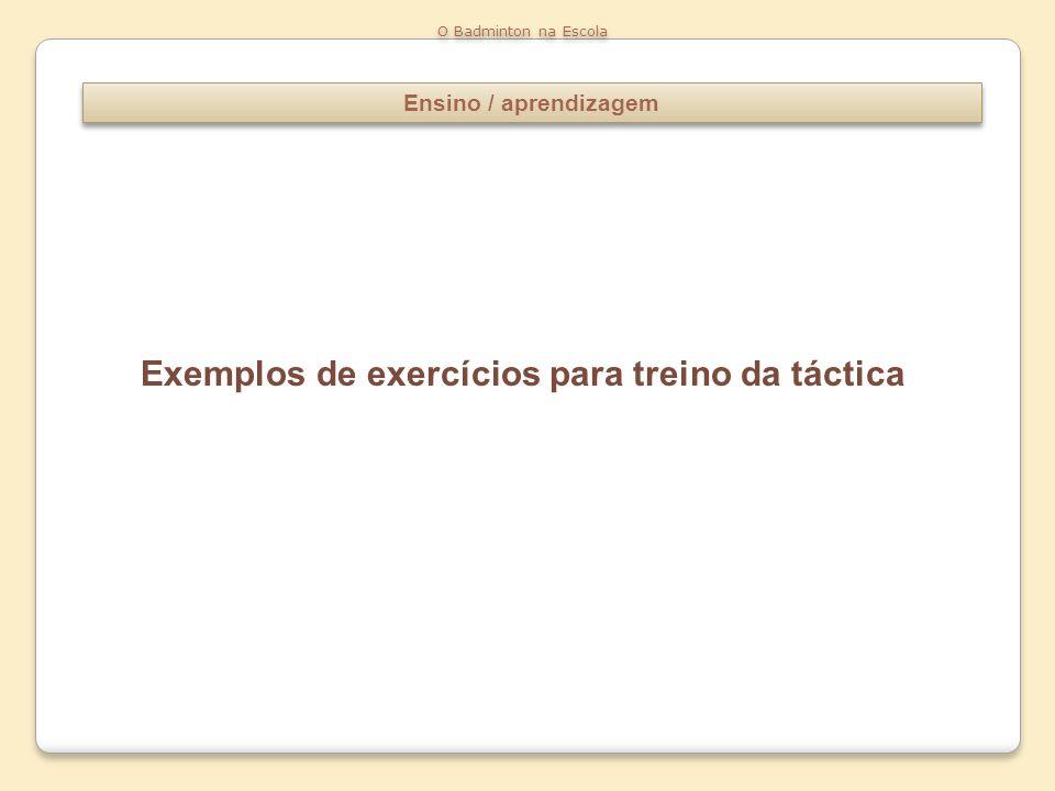 Exemplos de exercícios para treino da táctica