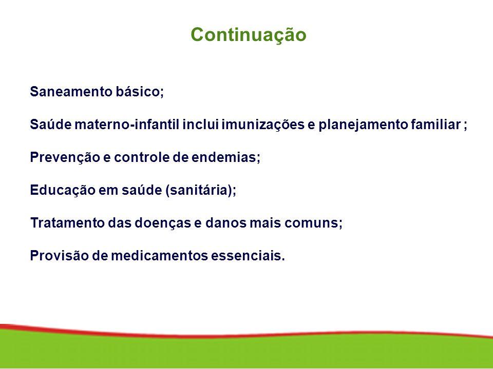 Continuação Saneamento básico;