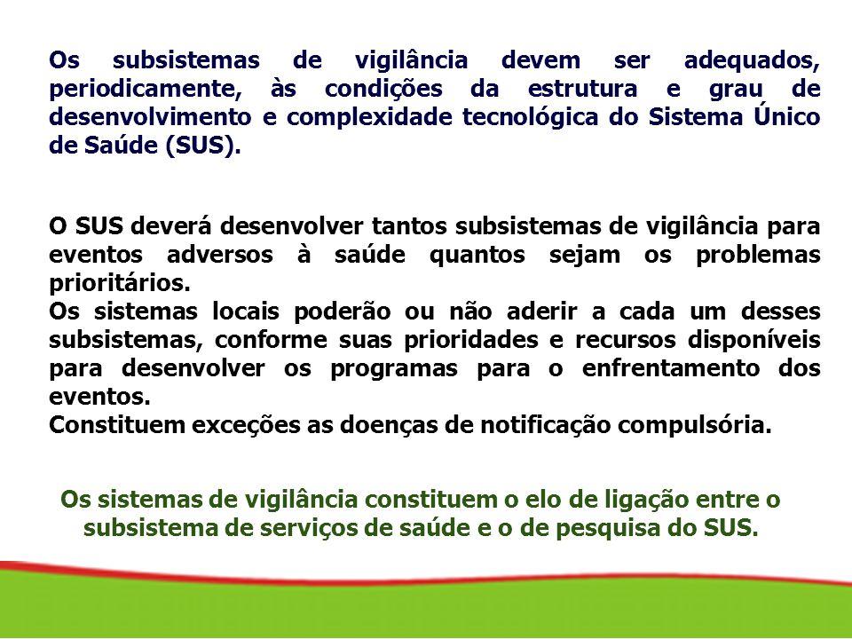 Os subsistemas de vigilância devem ser adequados, periodicamente, às condições da estrutura e grau de desenvolvimento e complexidade tecnológica do Sistema Único de Saúde (SUS).