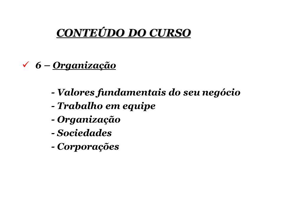 CONTEÚDO DO CURSO 6 – Organização