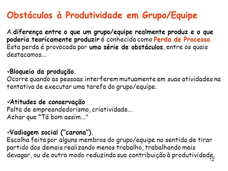 Obstáculos à Produtividade em Grupo/Equipe