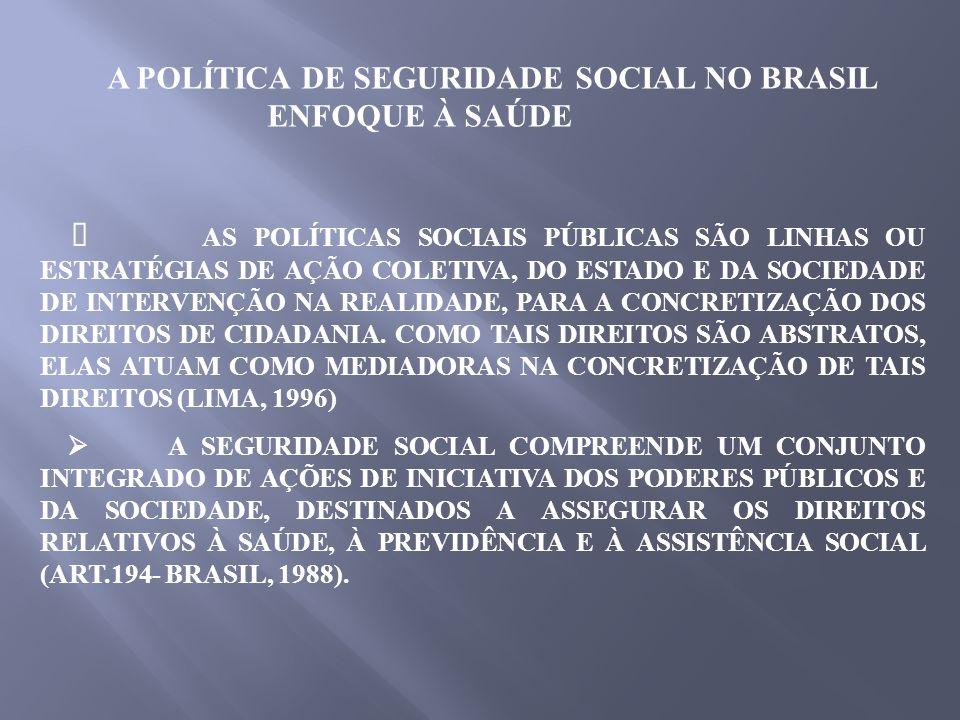 A POLÍTICA DE SEGURIDADE SOCIAL NO BRASIL ENFOQUE À SAÚDE