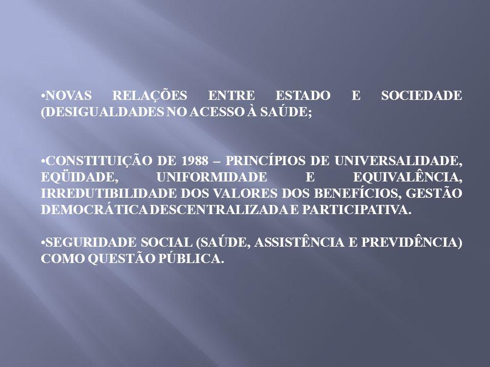 NOVAS RELAÇÕES ENTRE ESTADO E SOCIEDADE (DESIGUALDADES NO ACESSO À SAÚDE;