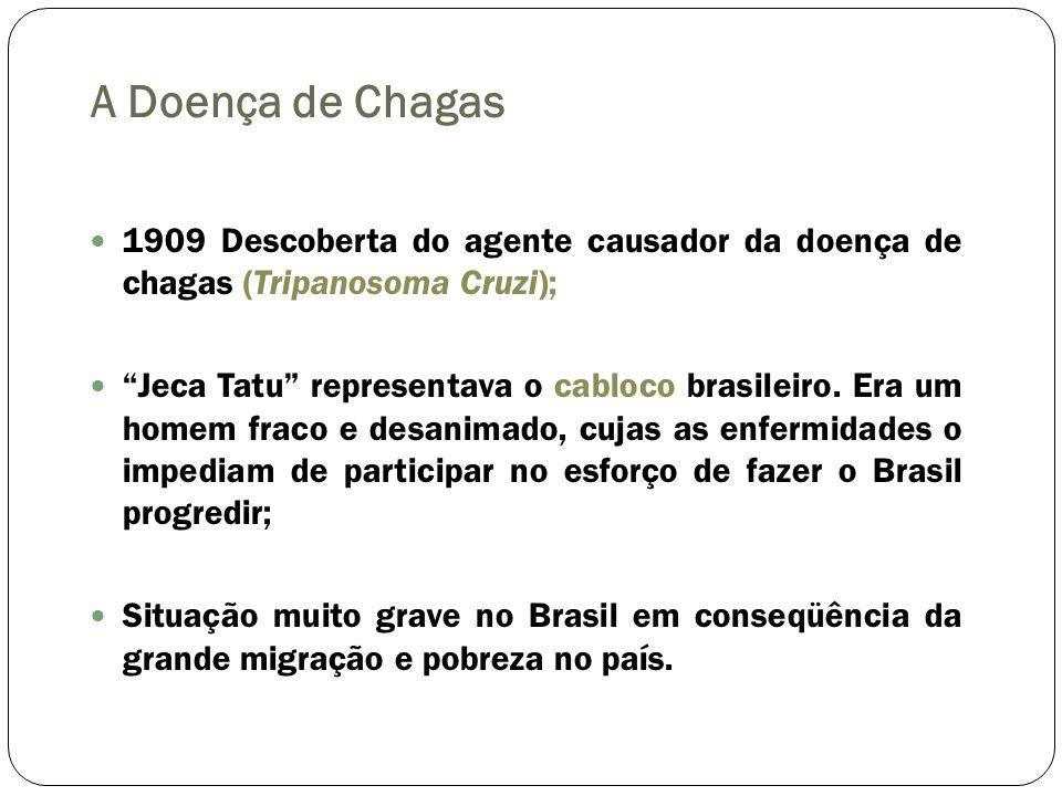 A Doença de Chagas 1909 Descoberta do agente causador da doença de chagas (Tripanosoma Cruzi);
