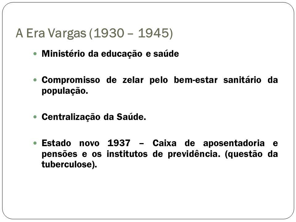 A Era Vargas (1930 – 1945) Ministério da educação e saúde