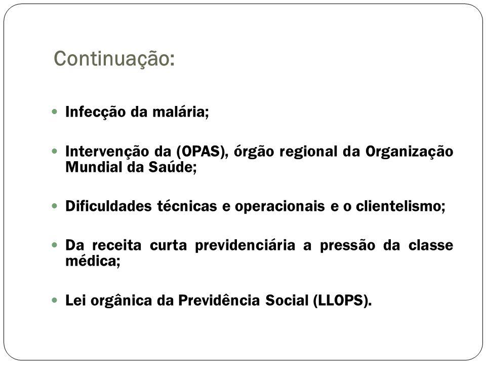 Continuação: Infecção da malária;