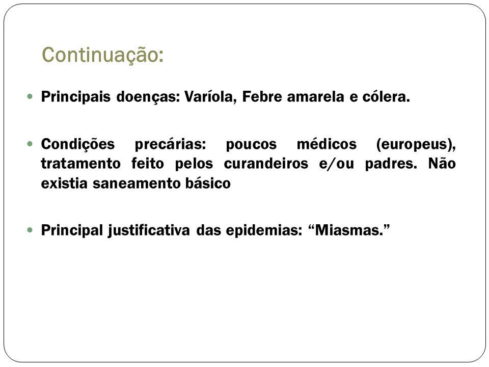 Continuação: Principais doenças: Varíola, Febre amarela e cólera.