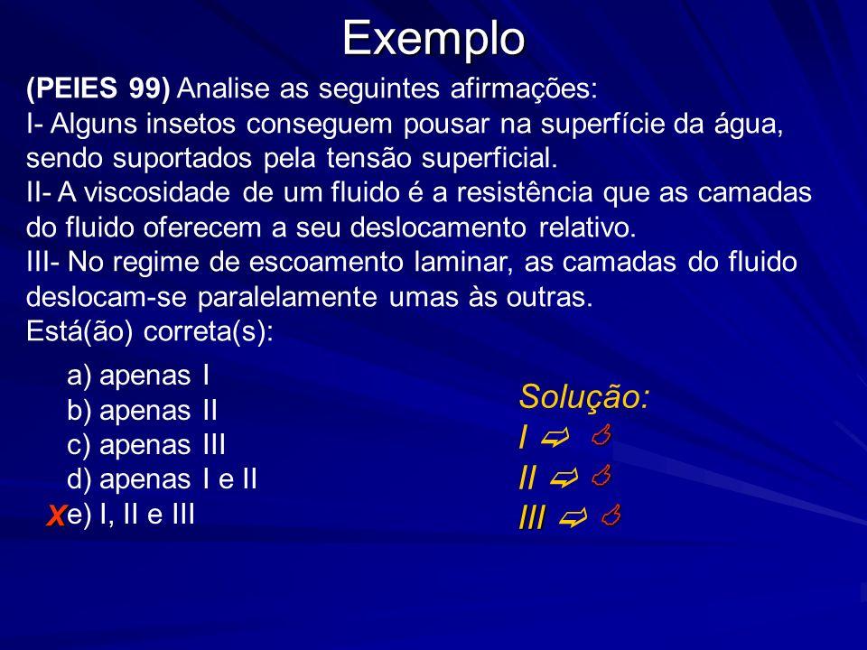 Exemplo Solução: I   II   III  