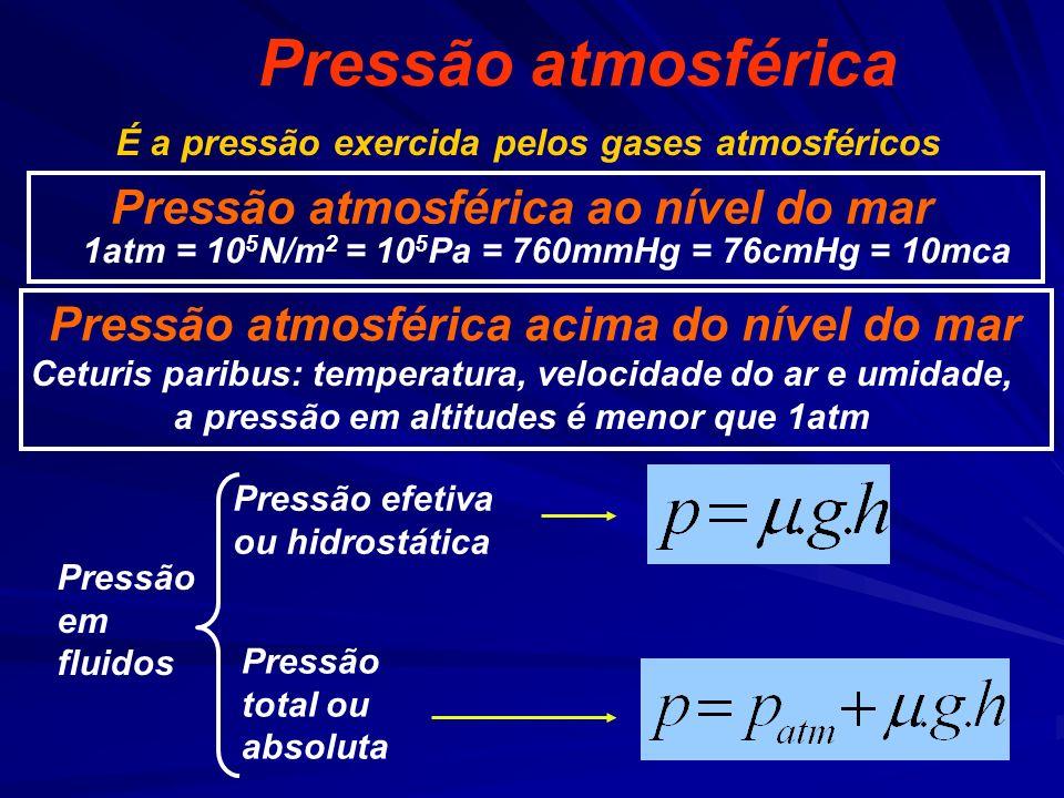 1atm = 105N/m2 = 105Pa = 760mmHg = 76cmHg = 10mca