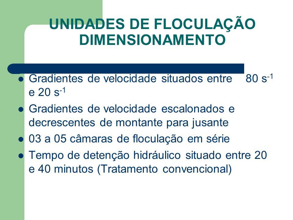 UNIDADES DE FLOCULAÇÃO DIMENSIONAMENTO