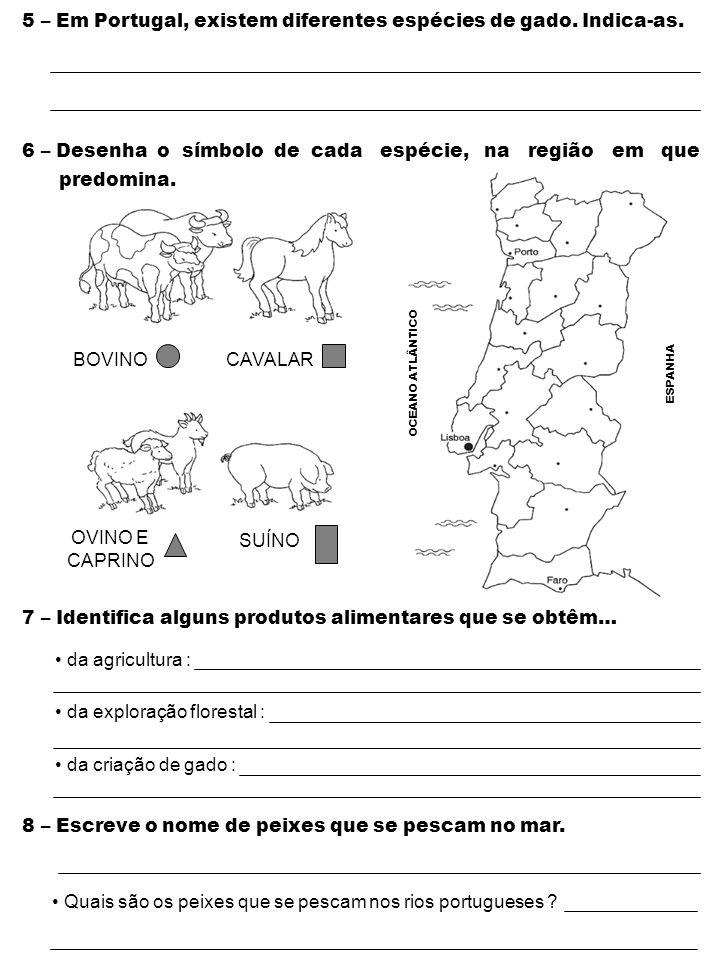 5 – Em Portugal, existem diferentes espécies de gado. Indica-as.