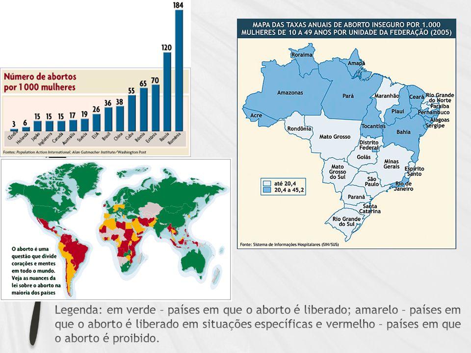 Legenda: em verde – países em que o aborto é liberado; amarelo – países em que o aborto é liberado em situações específicas e vermelho – países em que o aborto é proibido.