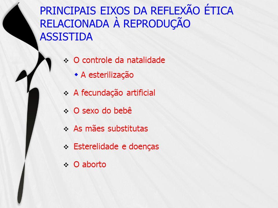 PRINCIPAIS EIXOS DA REFLEXÃO ÉTICA RELACIONADA À REPRODUÇÃO ASSISTIDA