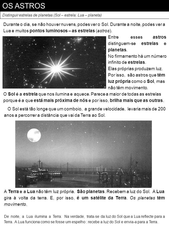 OS ASTROSDistinguir estrelas de planetas (Sol – estrela; Lua – planeta)