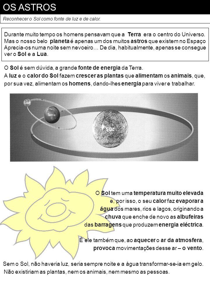OS ASTROSReconhecer o Sol como fonte de luz e de calor. Durante muito tempo os homens pensavam que a Terra era o centro do Universo.