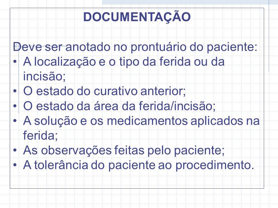 DOCUMENTAÇÃO Deve ser anotado no prontuário do paciente: A localização e o tipo da ferida ou da incisão;