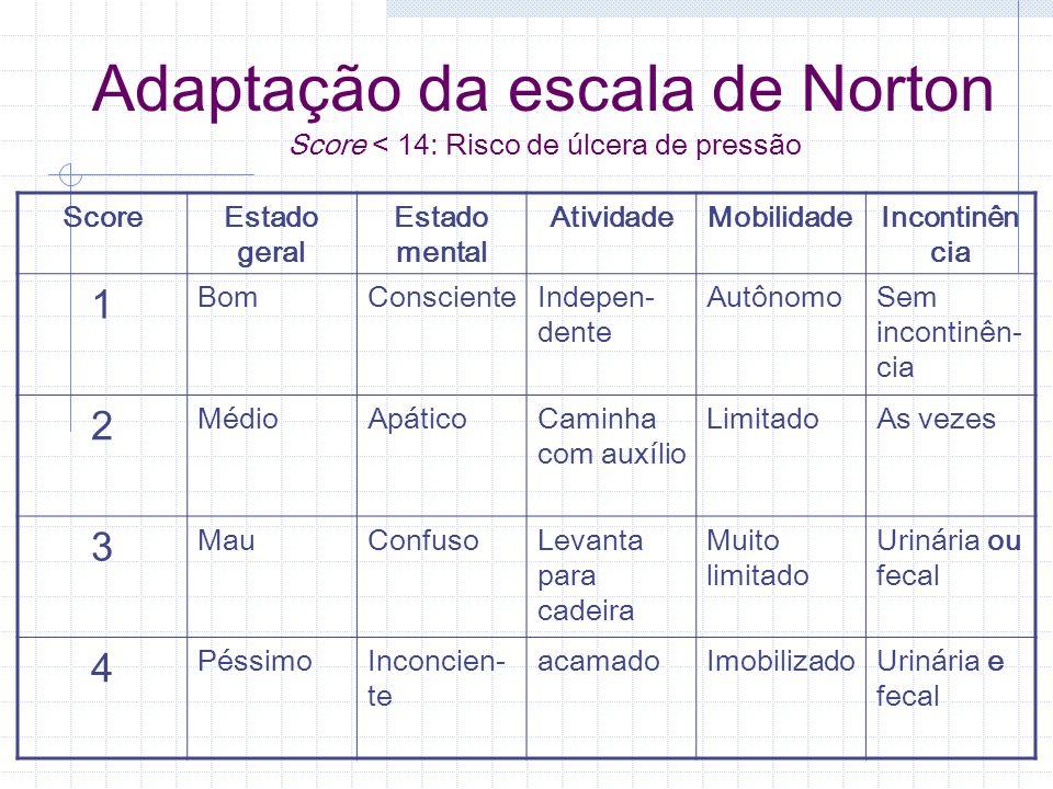 Adaptação da escala de Norton Score < 14: Risco de úlcera de pressão