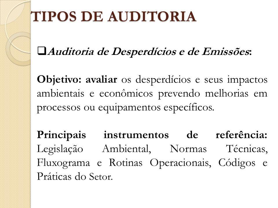 TIPOS DE AUDITORIA Auditoria de Desperdícios e de Emissões: