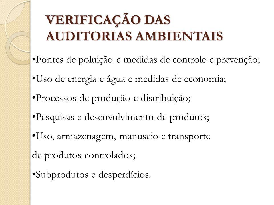 VERIFICAÇÃO DAS AUDITORIAS AMBIENTAIS